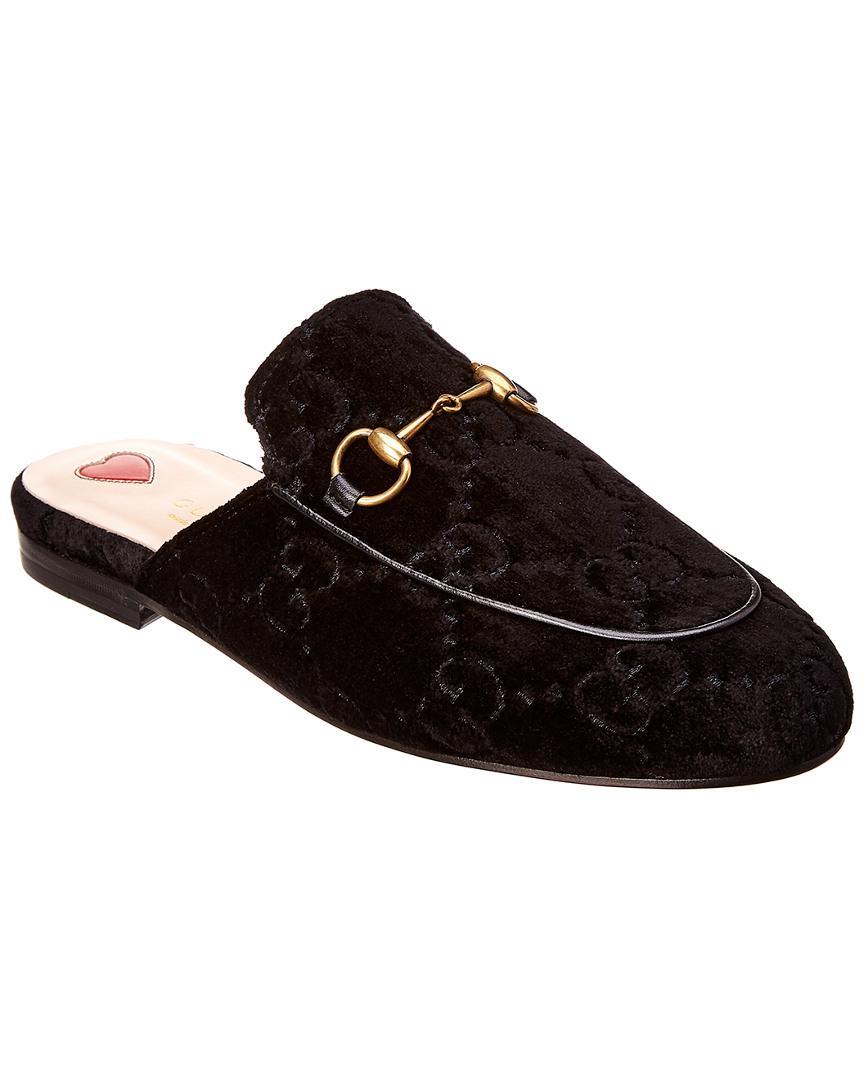 5c3ba9c13 Lyst - Gucci Black Velvet GG Princetown Slippers in Black - Save 30%