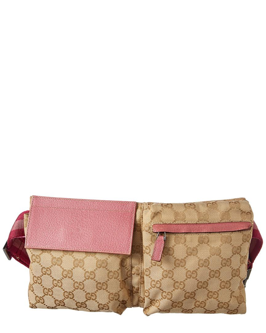 ed5eff8b4116ab Gucci Gg Supreme Canvas & Pink Leather Waist Pouch - Lyst