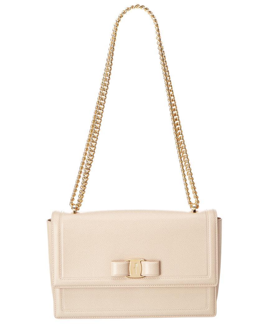 7ebfe152ca80 Lyst - Ferragamo Ginny Vara Leather Flap Bag in Natural - Save ...