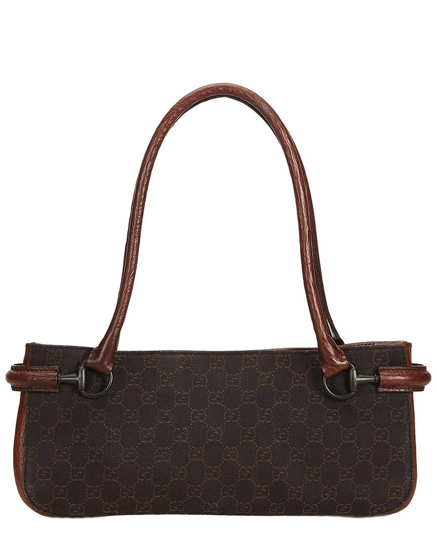 493b9e318b Lyst - Gucci Black Ssima Jacquard & Leather Baguette Bag in Black