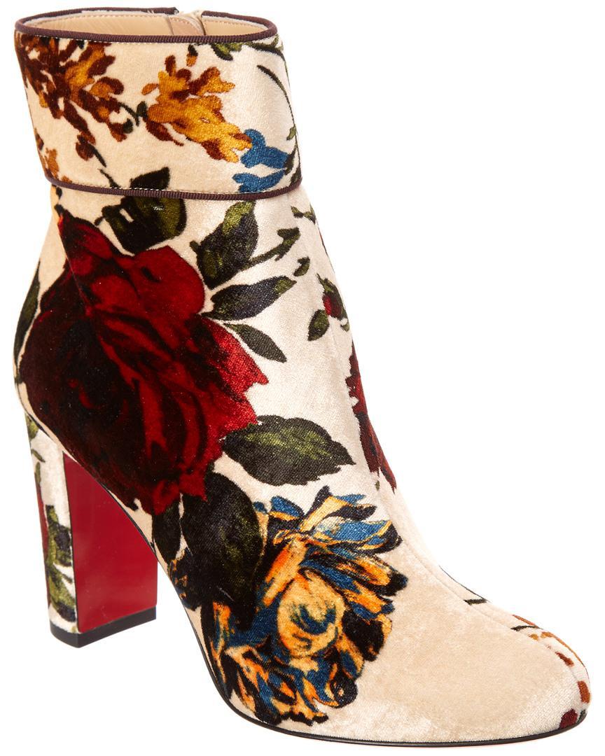 2e8581386dfe Lyst - Christian Louboutin Moulamax 85 Floral-print Velvet Ankle ...