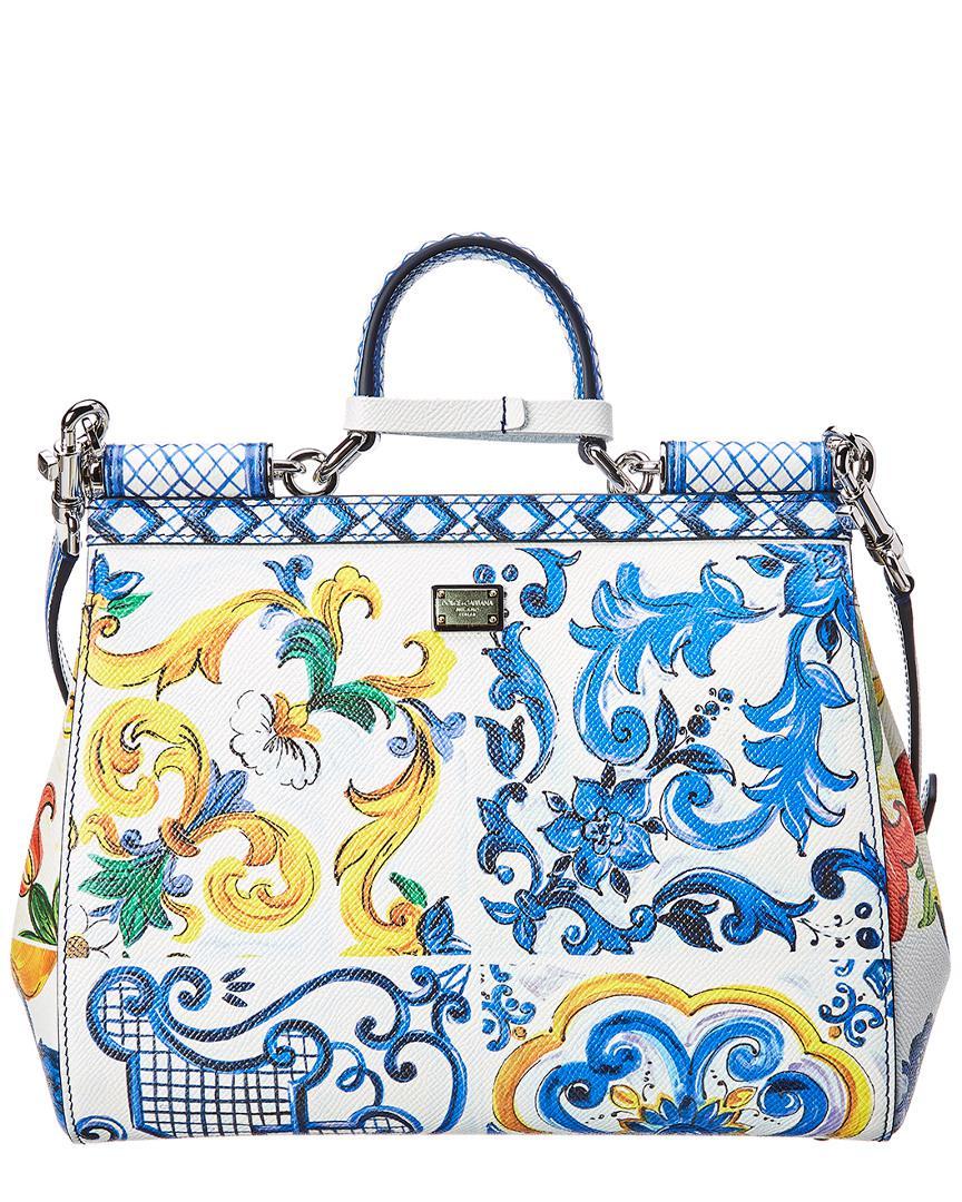 ea79ae8c84 Dolce   Gabbana Medium Sicily Leather Satchel in Blue - Lyst