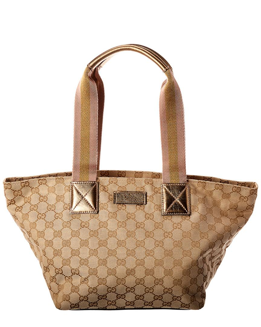 Lyst - Gucci Gold GG Canvas   Leather Tote 5c36f3d0cab4c
