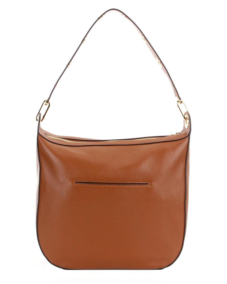 c69e68f3e9b Lyst - Michael Michael Kors Raven Large Leather Shoulder Bag in Brown -  Save 4.400000000000006%
