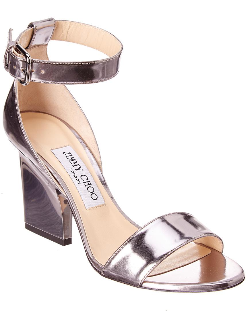 7ceae7c13f40 Lyst - Jimmy Choo Edina 85 Metallic Leather Wedge Sandal