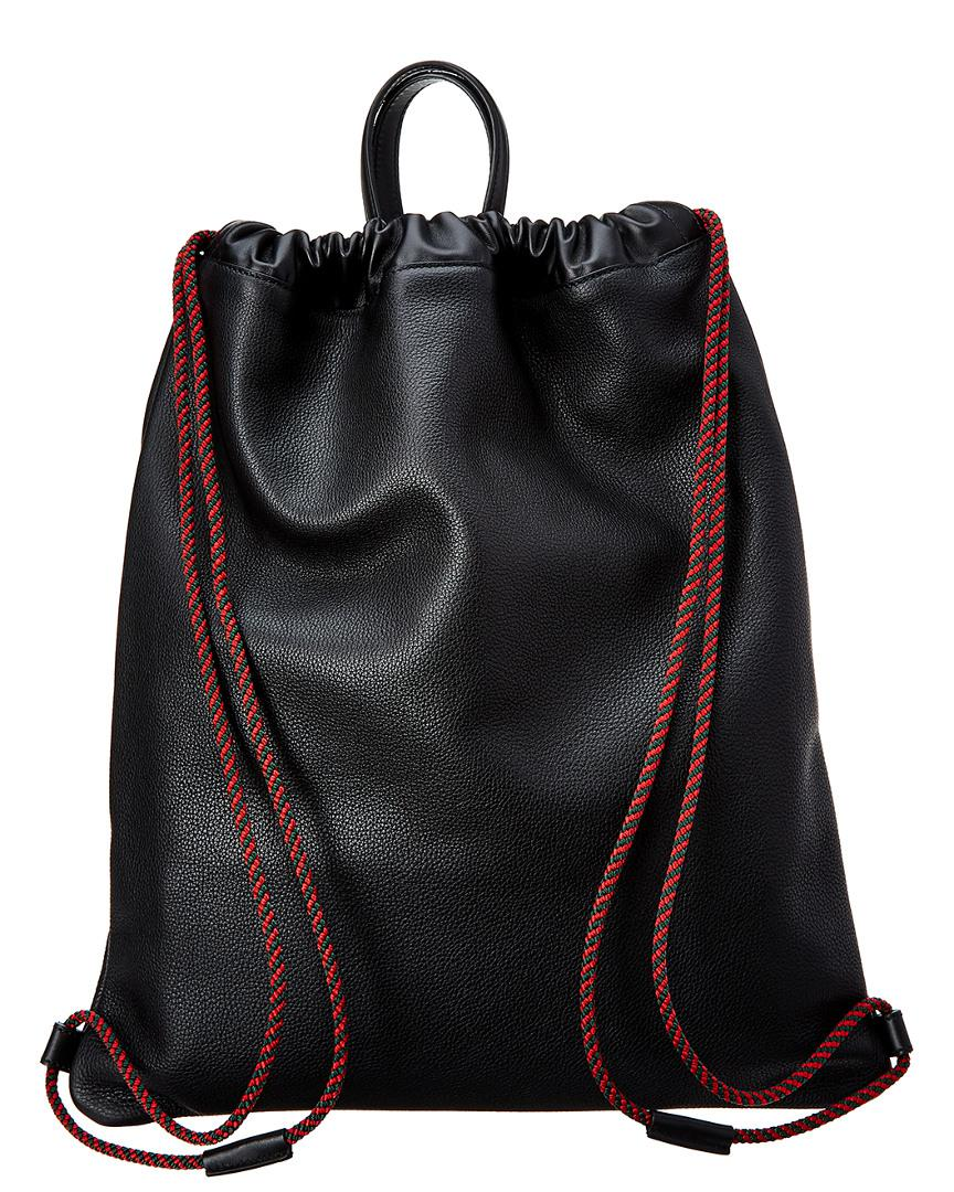 826f64a8fac9 Lyst - Gucci Logo Print Leather Drawstring Backpack in Black for Men