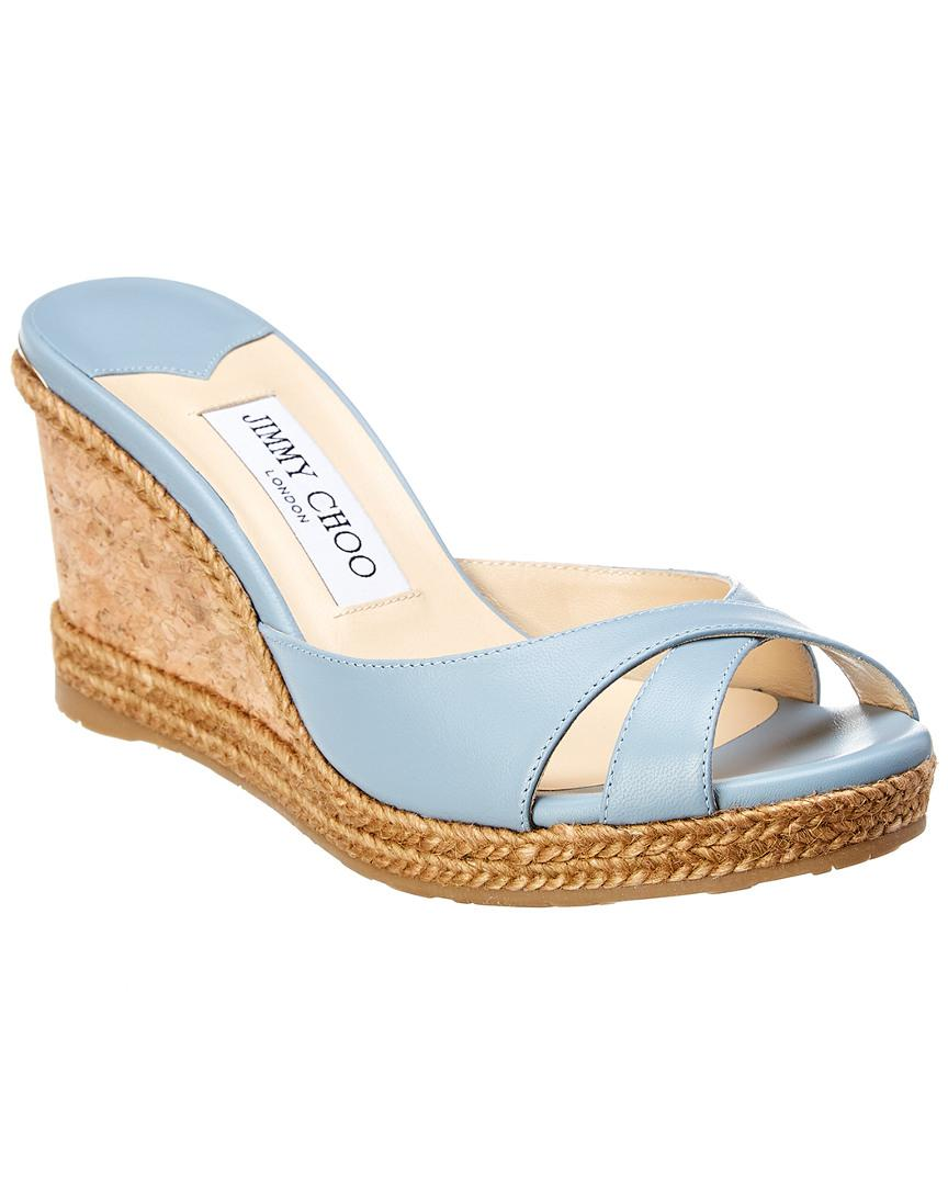 d64b93fbba9d Lyst - Jimmy Choo Almer 80 Leather Wedge Sandal in Blue - Save ...