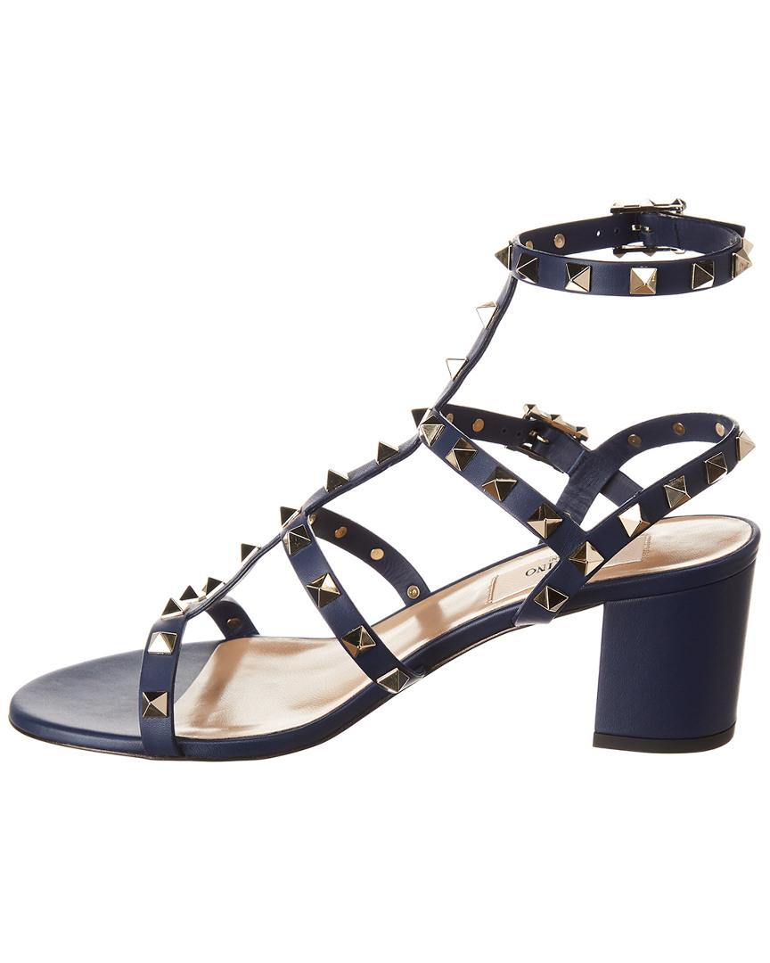 3beb727585c6 Lyst - Valentino Rockstud 60 Leather Sandal in Blue