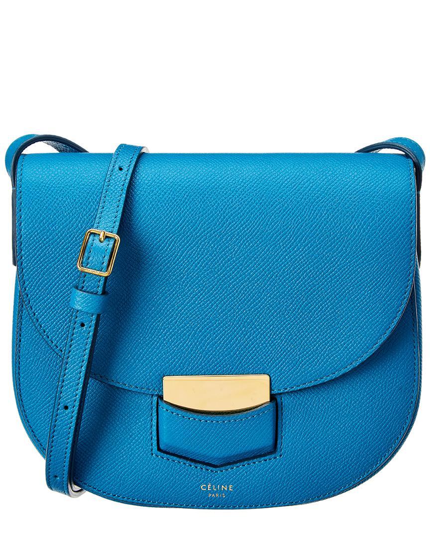 3f09e0415 Céline Céline Small Trotteur Leather Crossbody in Blue - Lyst