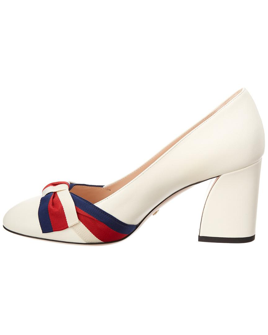 ced0c5ea235 Lyst - Gucci Grosgrain Bow Aline Leather Pump in White