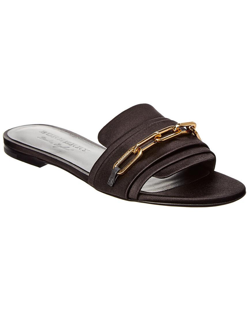 1707296134c0 Lyst burberry link detail satin leather slide in black save jpg 864x1080  Lyst slipper burberry flip