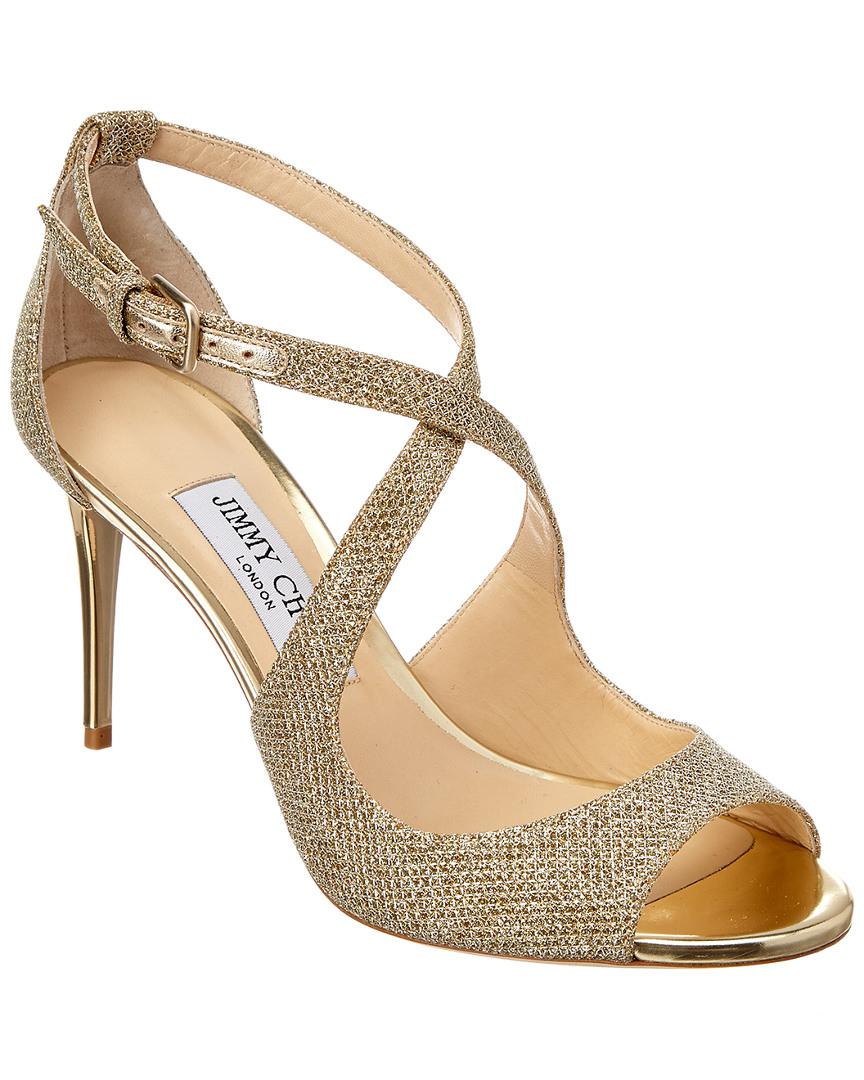 c36c7c321a83 Lyst - Jimmy Choo Emily 85 Lame Glitter Fabric Sandal in Metallic