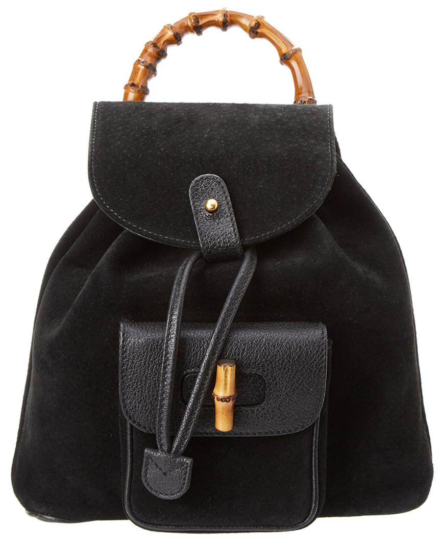 709c847e26 Lyst - Gucci Black Suede   Leather Bamboo Backpack in Black