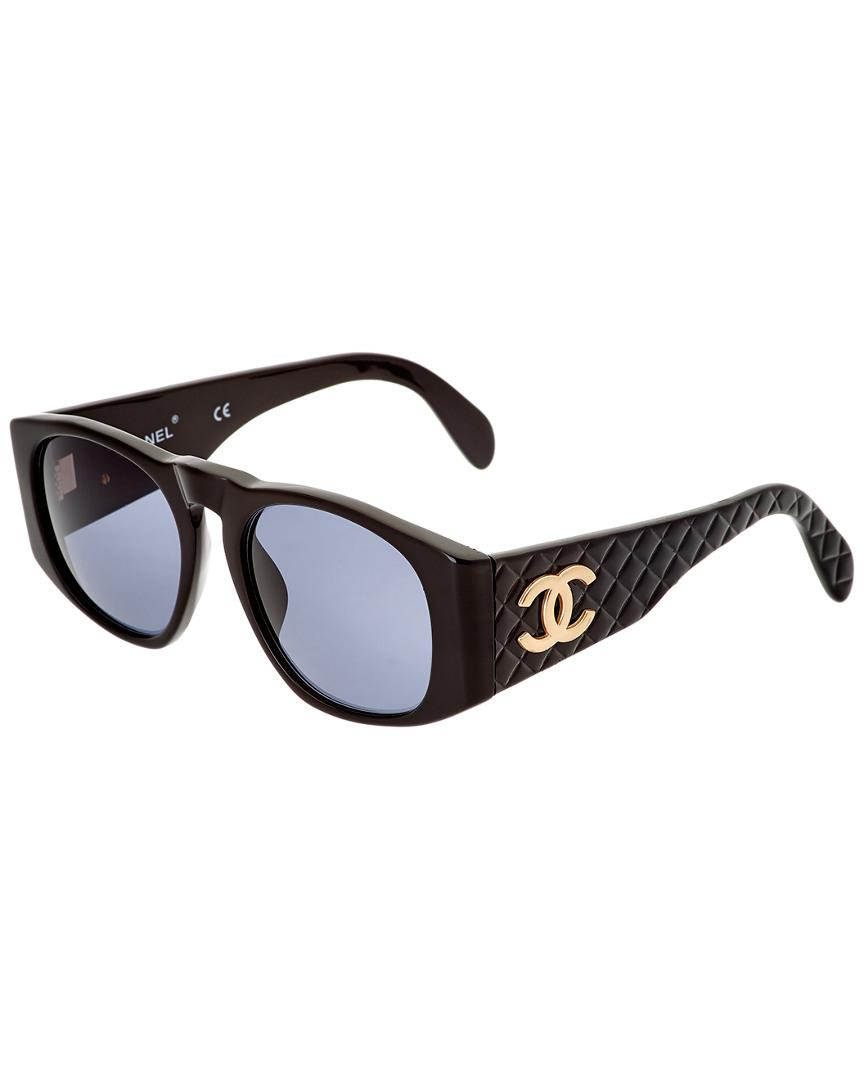 97a713a7692 Chanel Black Quilted Acrylic Sunglasses in Black - Lyst
