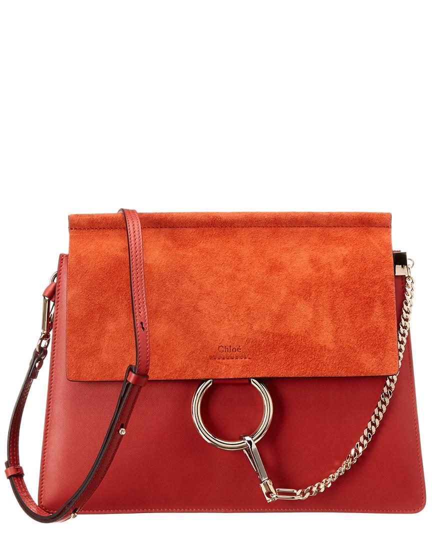 445f8d17b3 Women's Orange Faye Medium Leather & Suede Shoulder Bag