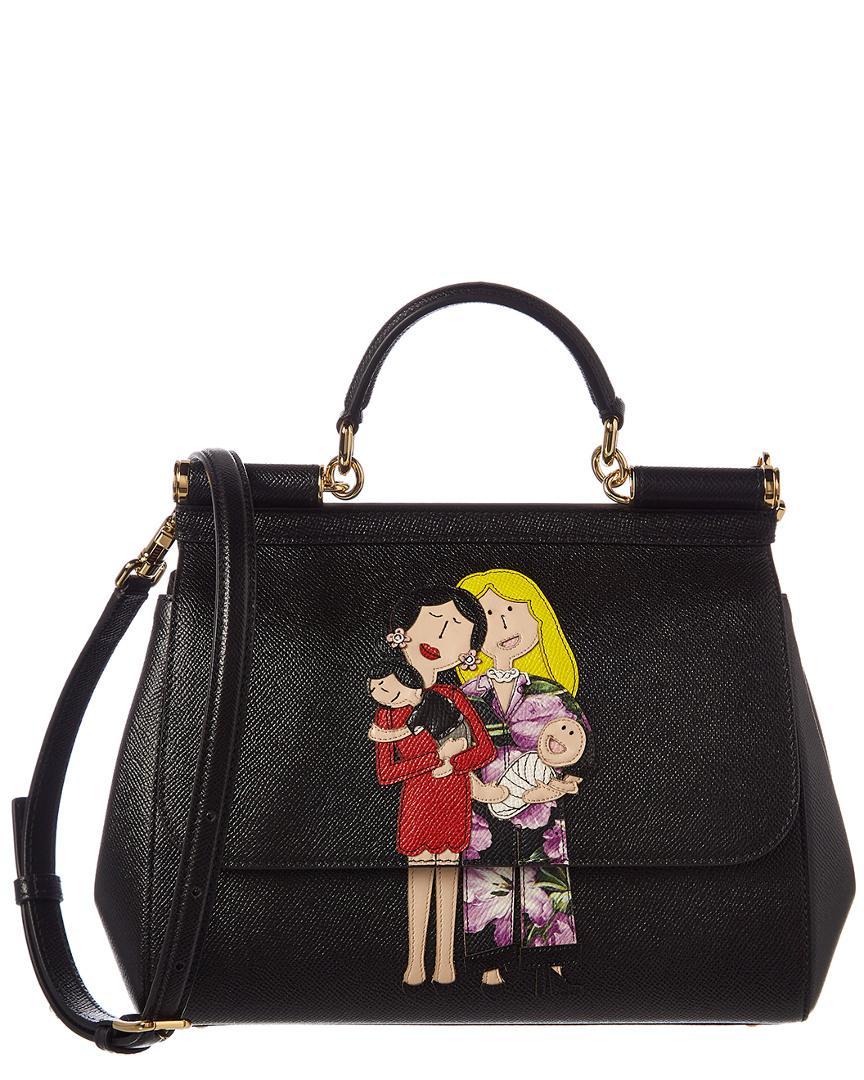 6203bc05bf Dolce   Gabbana. Women s Black Medium Sicily Family Patch Leather Satchel