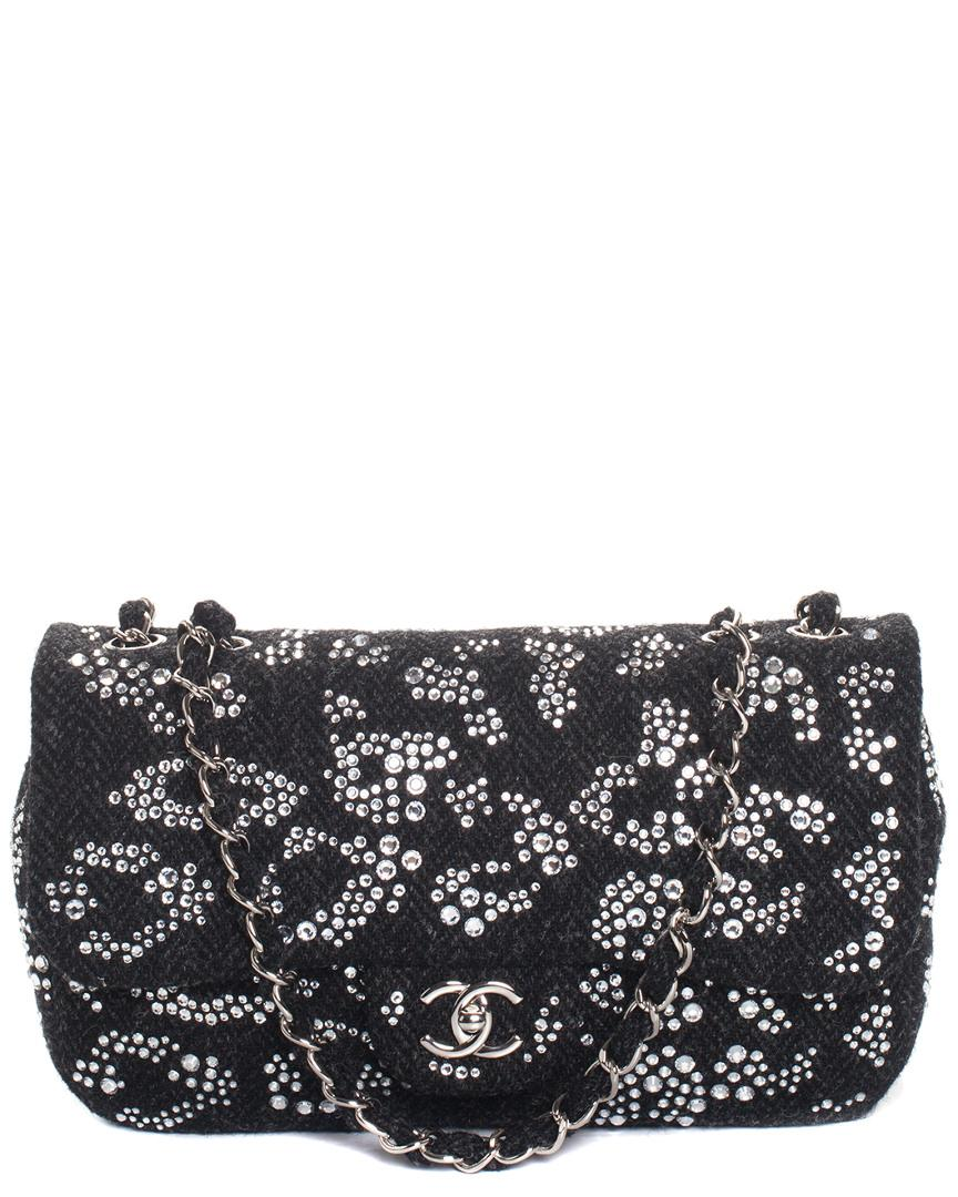 3c5e118ed775 Chanel. Women s Gray Limited Edition Grey Quilted Wool Classic Strass Flap  Shoulder Bag