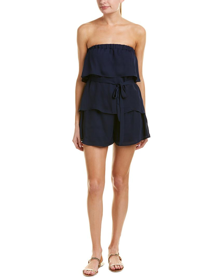 9ba57261b0e9 Lyst - Parker Tiered Romper in Blue - Save 66%