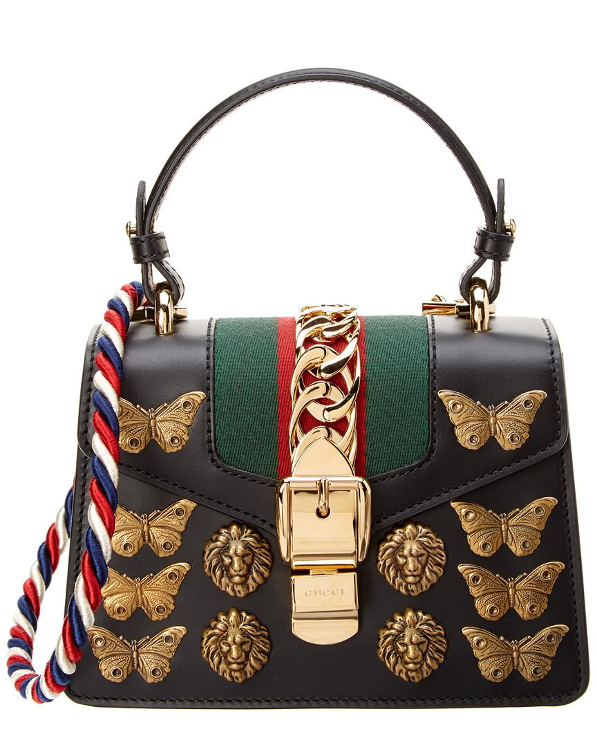 fd2e8cd9f33 Gucci Sylvie Animals Studs Leather Mini Bag in Black - Save 12% - Lyst