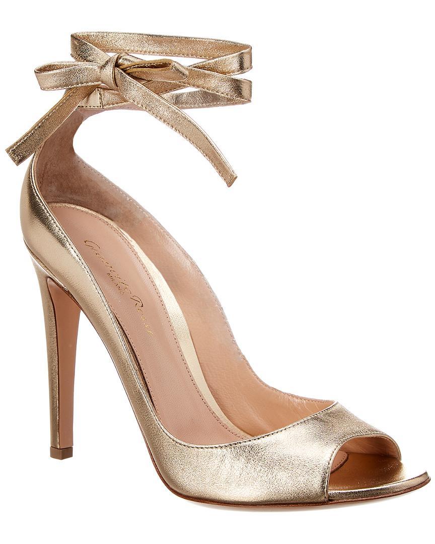 5212ffc1318 Gianvito Rossi Metallic Leather Ankle Strap Sandal in Metallic - Lyst