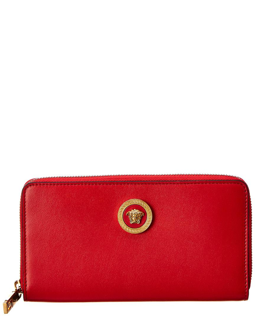 6913fa781a Lyst - Versace Medusa Tribute Leather Zip Around Wallet in Red - Save 3%