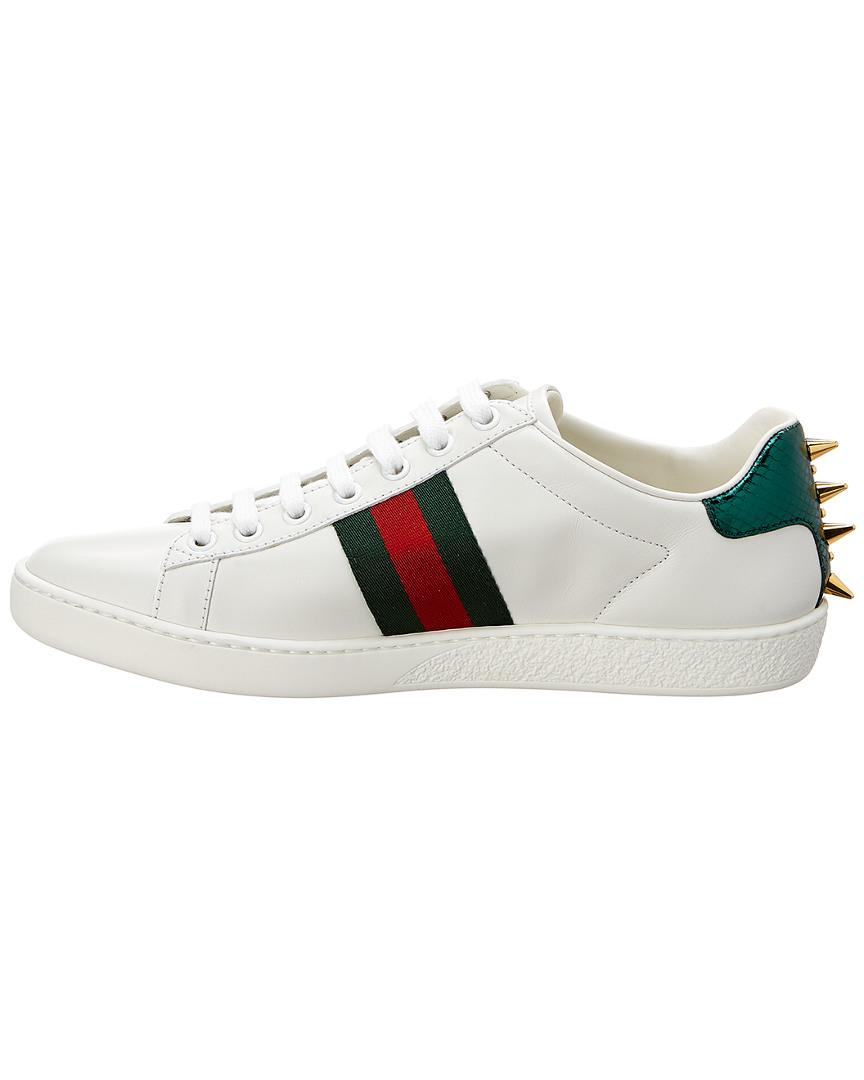 3d0c3ca8f81 Lyst - Gucci Ace Studded Leather Sneaker in White