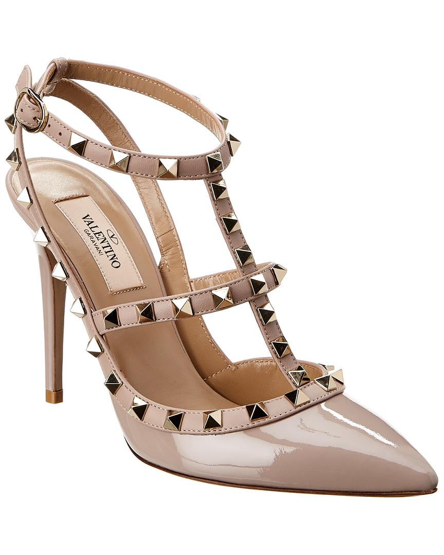 47542980278 Lyst - Valentino Cage Rockstud 100 Patent Ankle Strap Pump in Pink