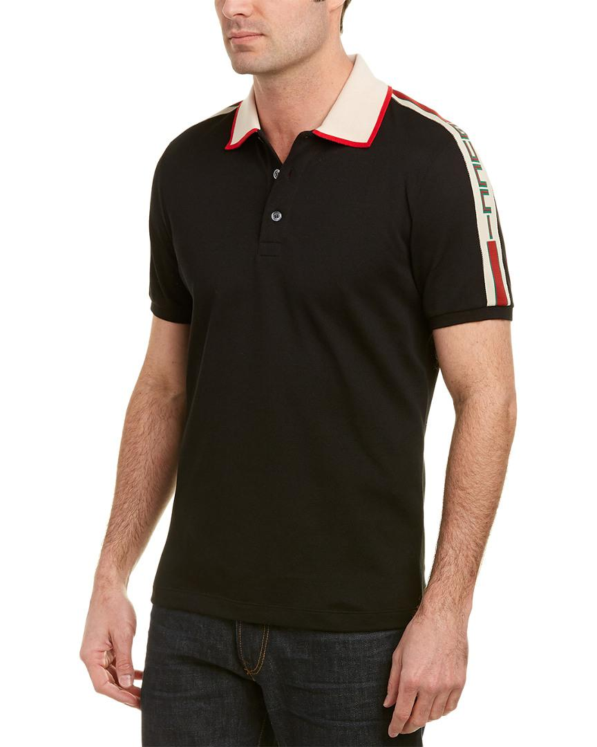 fb7473ebd Gucci Stripe Cotton Polo Shirt in Black for Men - Lyst