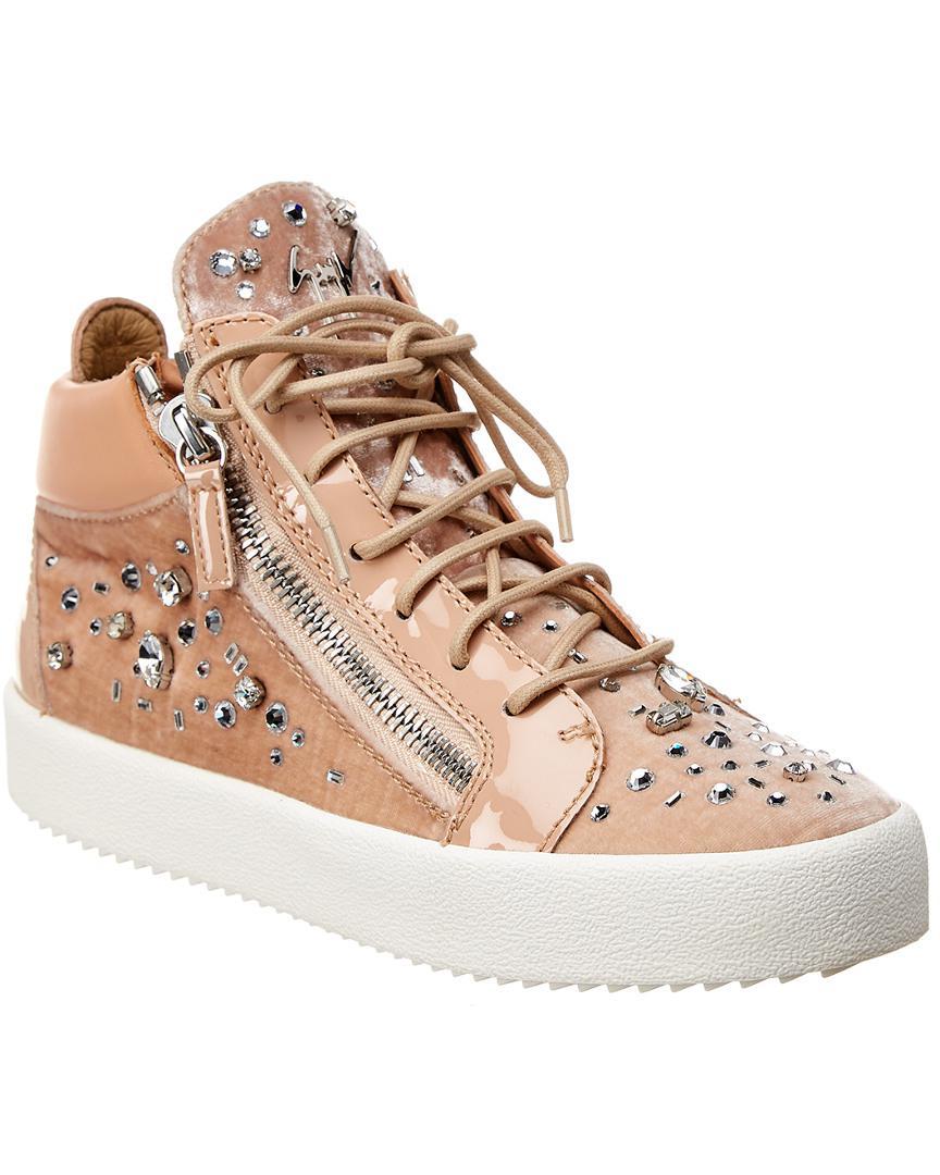 c815142691b4d Lyst - Giuseppe Zanotti Velvet & Leather High-top Sneaker in Pink