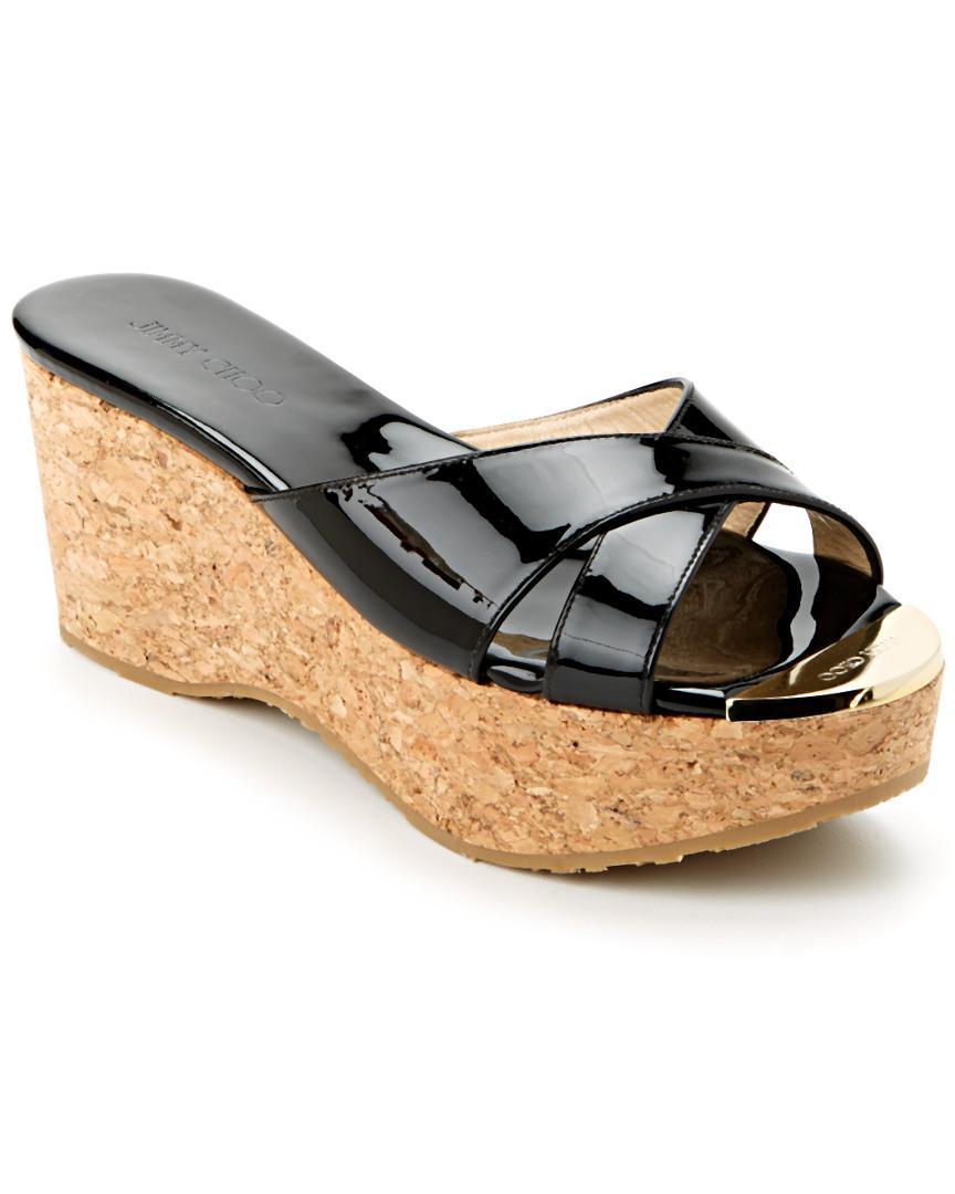 3792ae4e9eaa Jimmy Choo Prima Patent   Cork Wedge Sandal in Black - Lyst