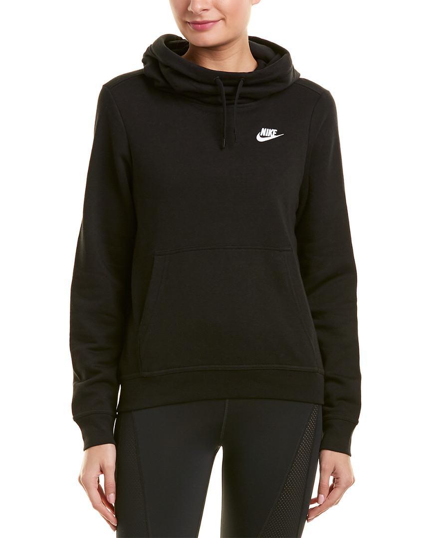 0ad881ab3b6f Nike - Black Funnel Neck Fleece Hoodie - Lyst. View fullscreen