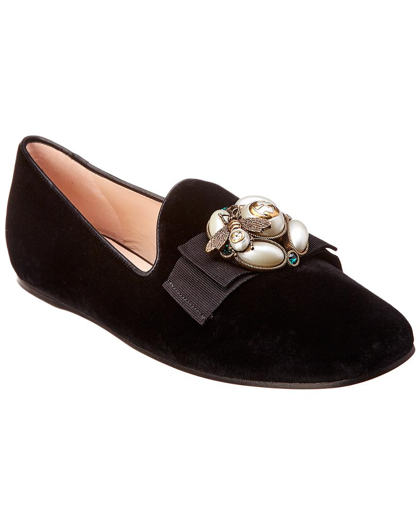 0e7d74e586ba Lyst - Gucci Bee Velvet Ballet Flat in Black - Save 33%