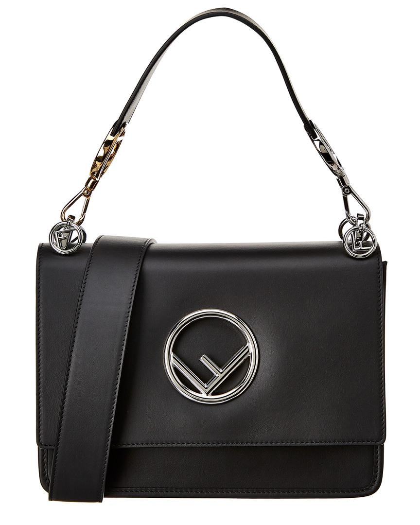 3ac4f15185 Lyst - Fendi Kan I Logo Leather Shoulder Bag in Black - Save ...