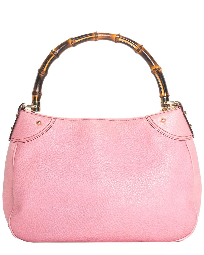 Lyst - Gucci Pink Leather Bamboo Shoulder Bag in Pink bcebac9a59bdf