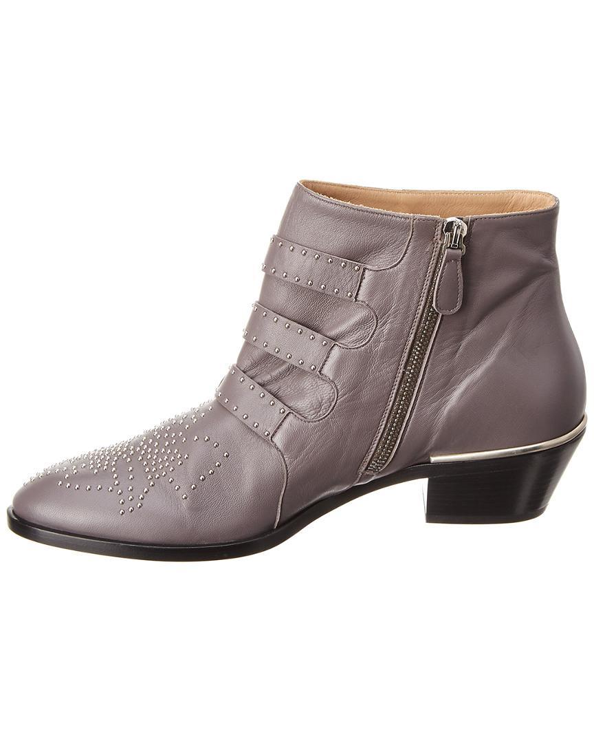1c4fcdbee78a Chloé Susanna Studded Leather Ankle Boot in Gray - Lyst