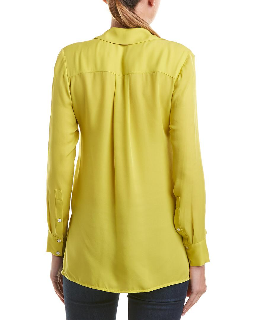 61bab9315e53a6 Lyst - Vince Hidden Placket Silk Shirt in Yellow - Save 1%