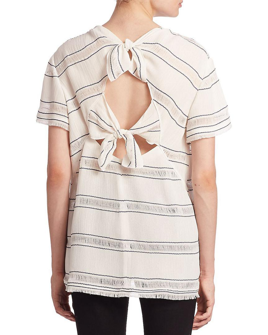 a9ae952899b5a Lyst - Proenza Schouler Striped Knot T-shirt in White - Save 61%