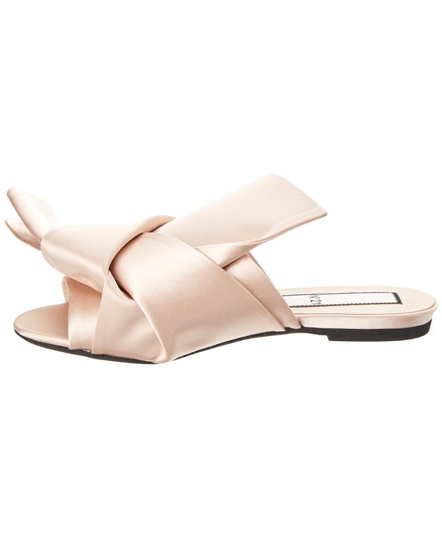 a77740f2f98aa N°21 N 21 Satin Bow Flat Mule in Pink - Lyst