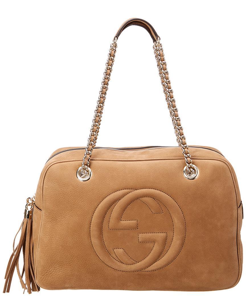 df76feb02a7ba Lyst - Gucci Brown Nubuck Leather Soho Shoulder Bag in Brown