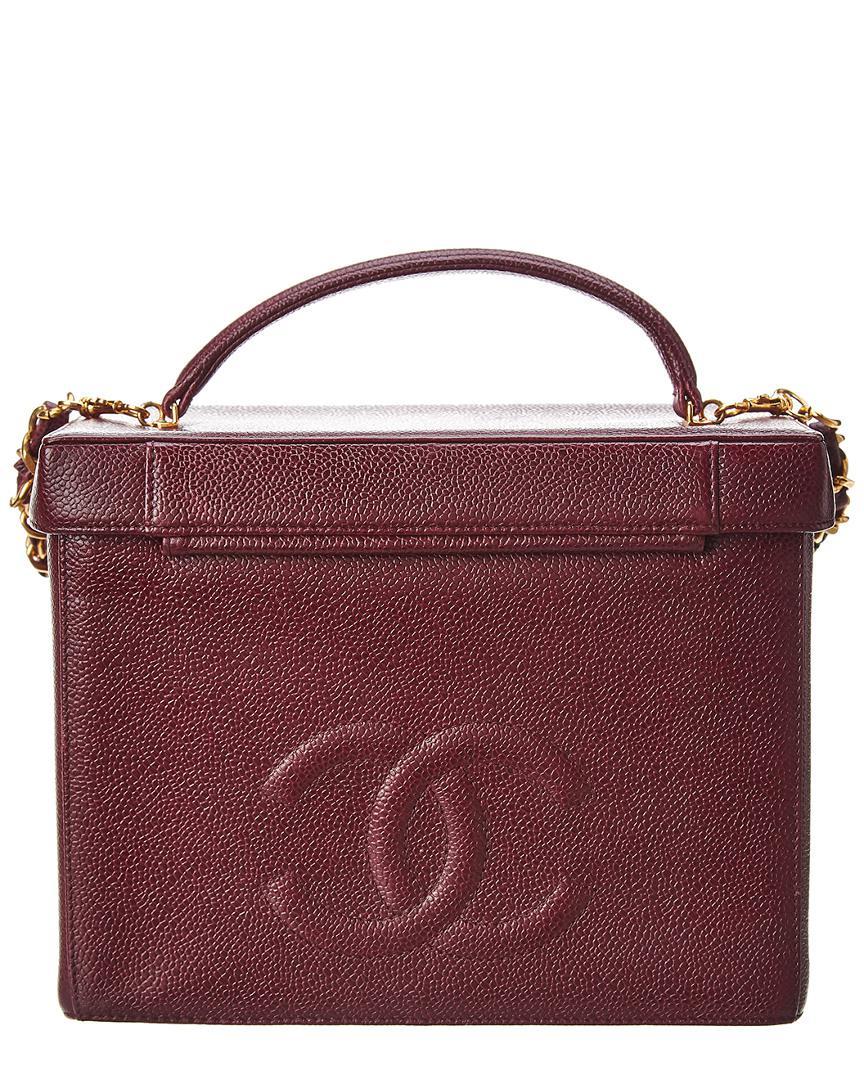 79ee60616c9241 Lyst - Chanel Burgundy Caviar Leather Vanity Cosmetic Bag in Purple