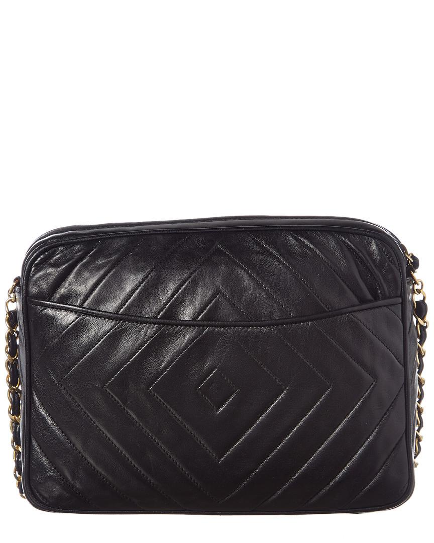 0dc7bc844a32 Chanel Black Lambskin Leather Diamond Cc Camera Bag in Black - Lyst