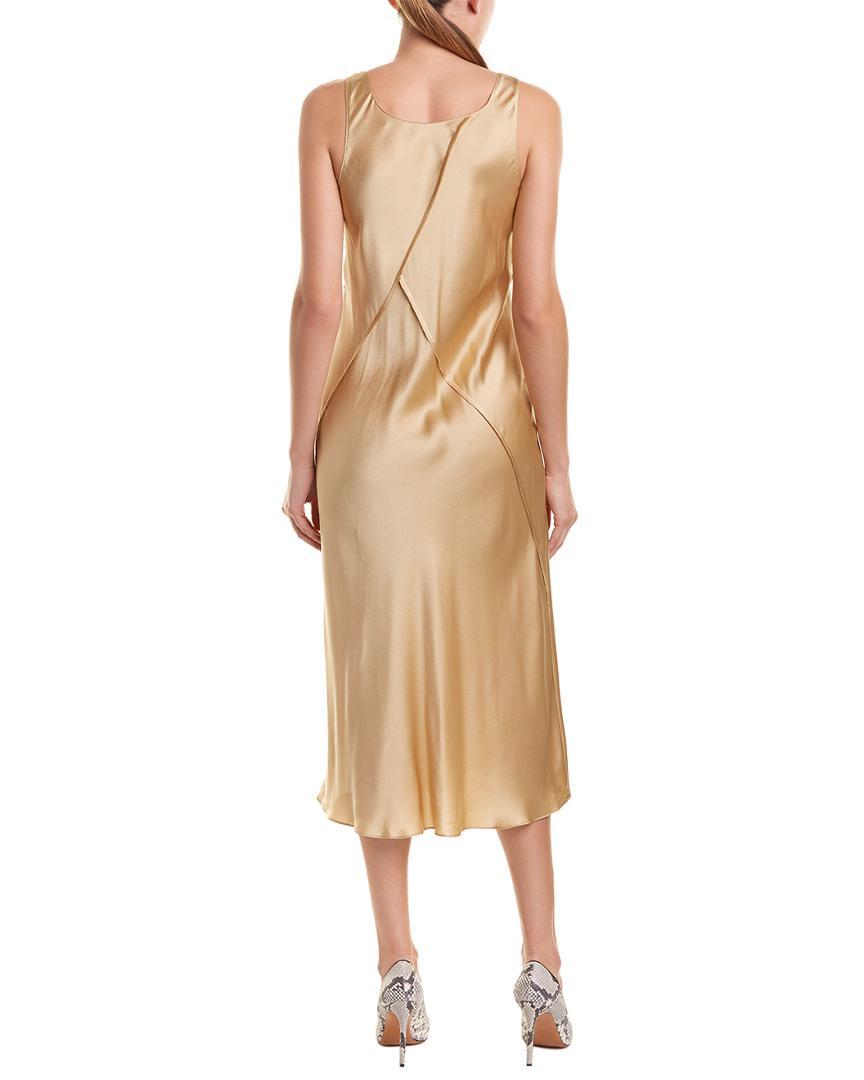 Lyst - Vince Raw Edge Silk Tank Dress in Yellow 58da14899