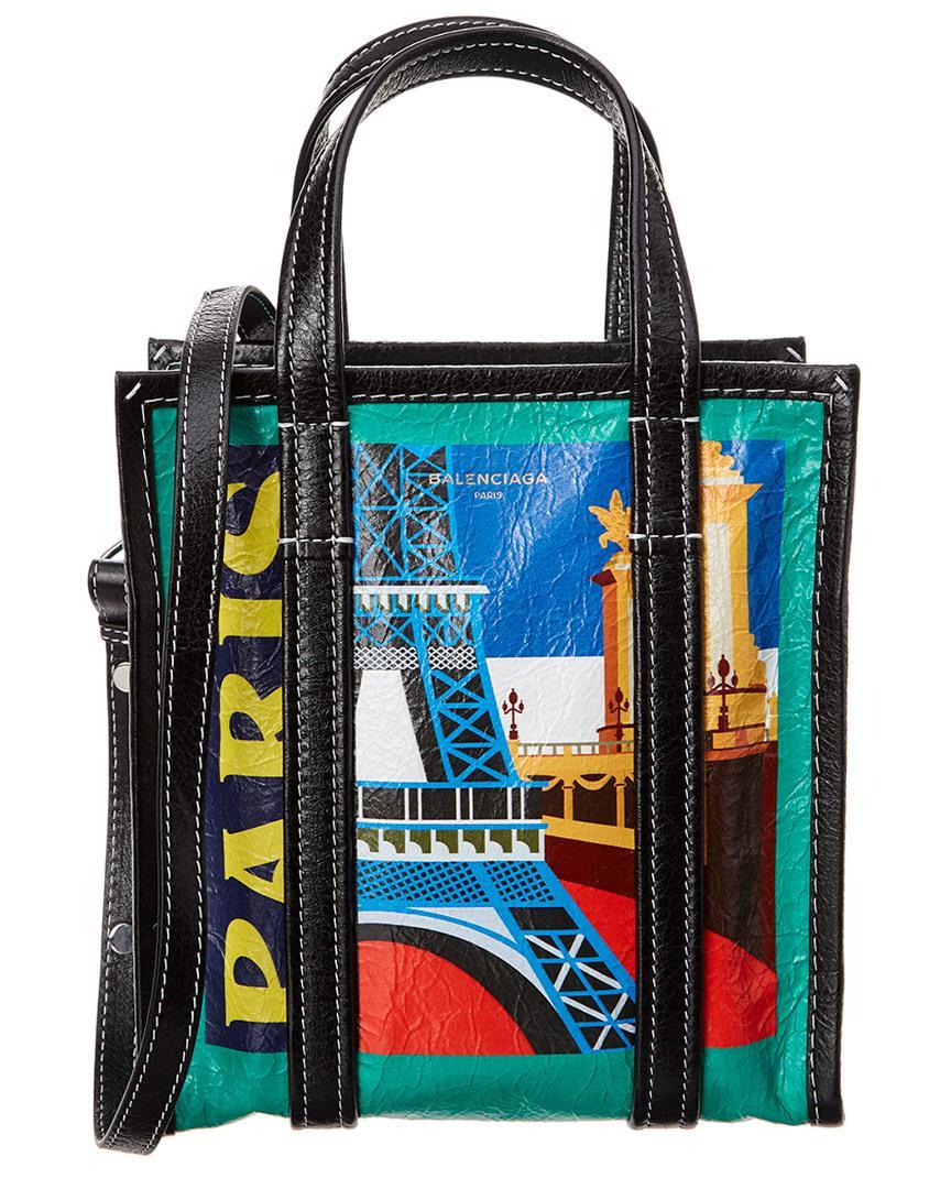 Balenciaga Women S Black Bazar Paris Small Leather Per Tote