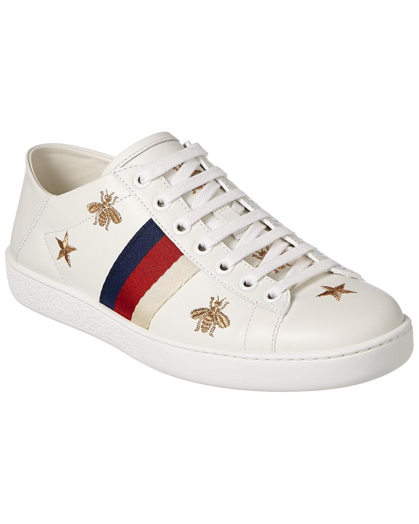 7d2b206a9ac Lyst - Gucci Ace Bee   Star Collapsible Heel Leather Sneaker in White