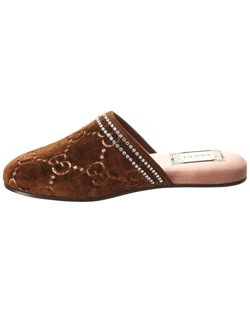 e682ac3a5a3a Lyst - Gucci GG Velvet Slippers in Brown - Save 60%