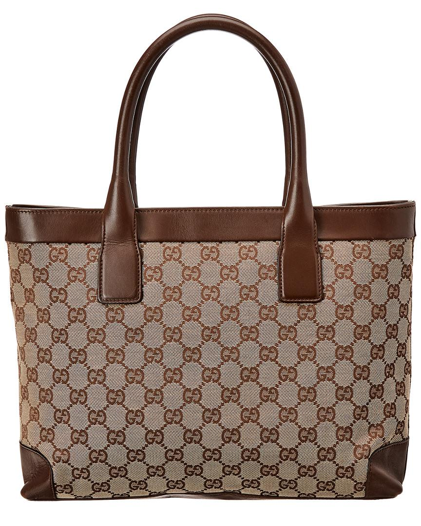 Gucci Brown GG Canvas   Leather Campus Tote in Brown - Lyst 03716b3bb1cbb