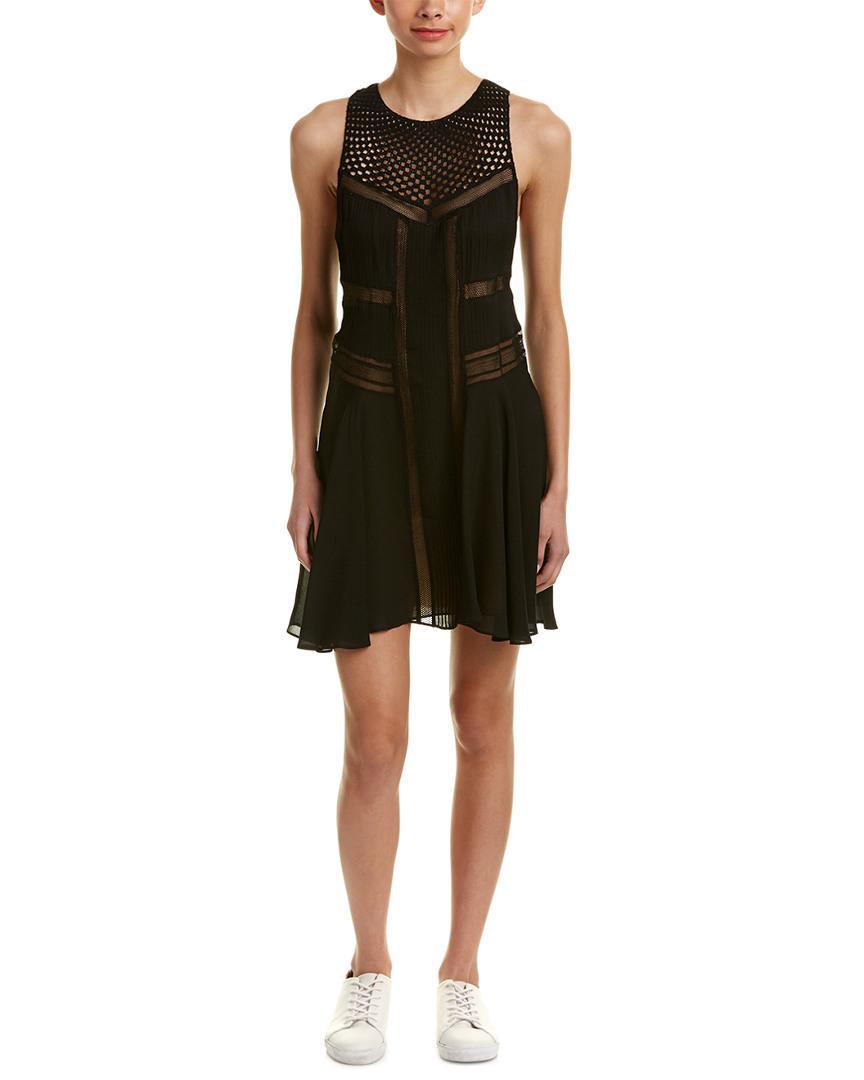 A.l.c. Woman Elin Crochet-paneled Pintucked Silk Crepe De Chine Mini Dress Cream Size 4 A.L.C. Ni740Y