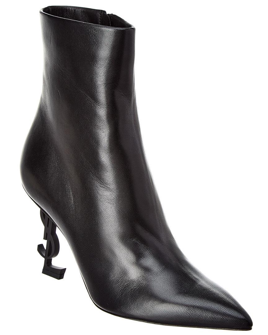 dfbd8679c4a Saint Laurent Opyum Leather Bootie in Black - Lyst