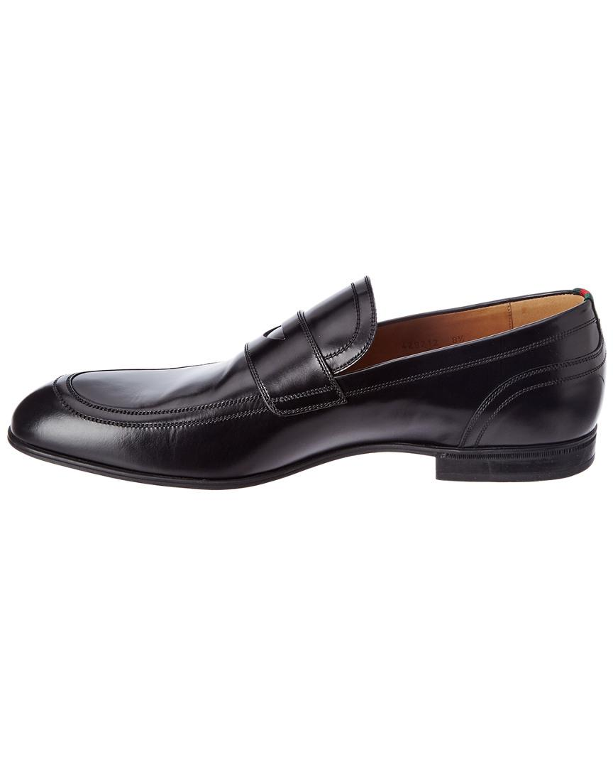 b786f7eccae Lyst - Gucci Leather Loafer With Web in Black for Men