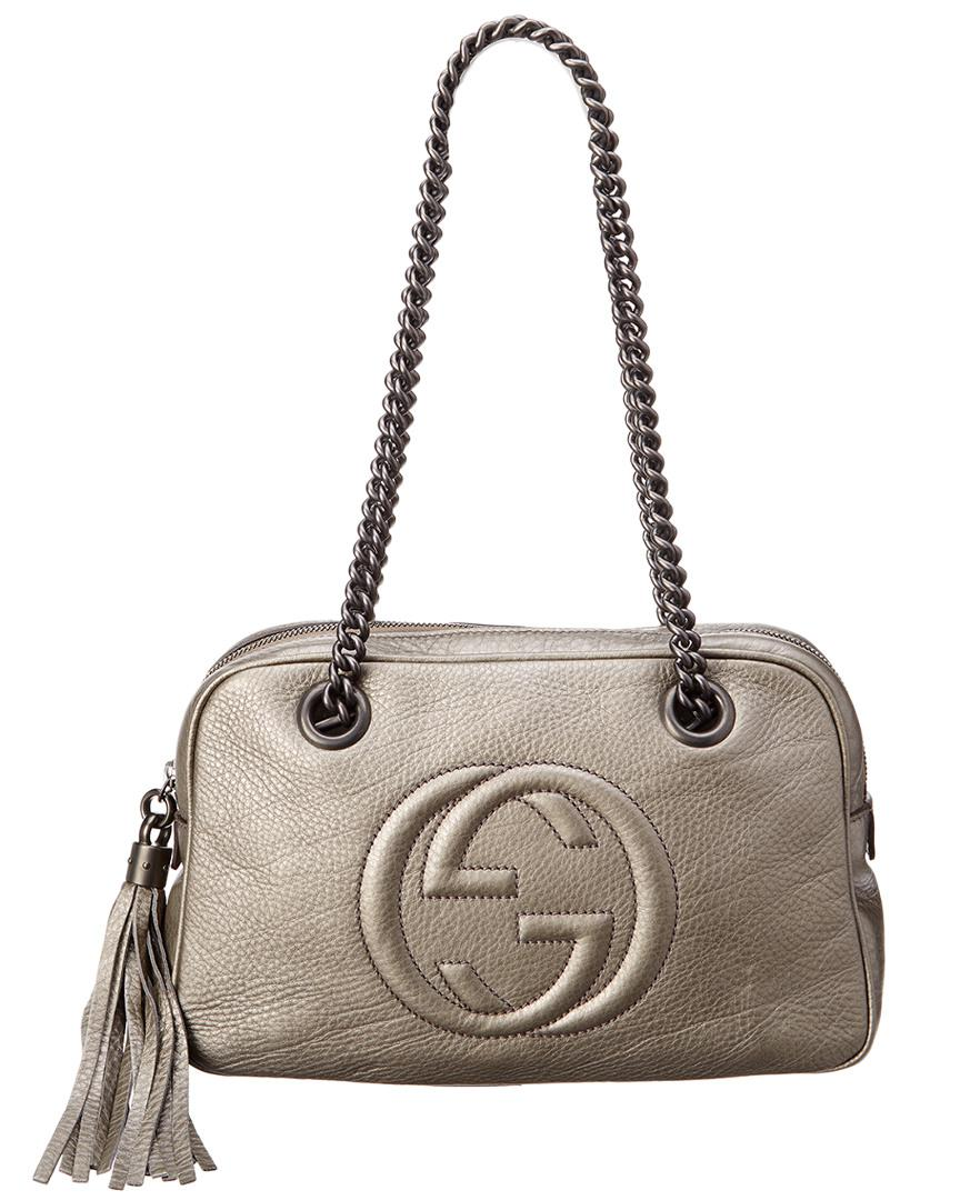 074d35133 Gucci Grey Metallic Leather Soho Chain Shoulder Bag in Gray - Lyst